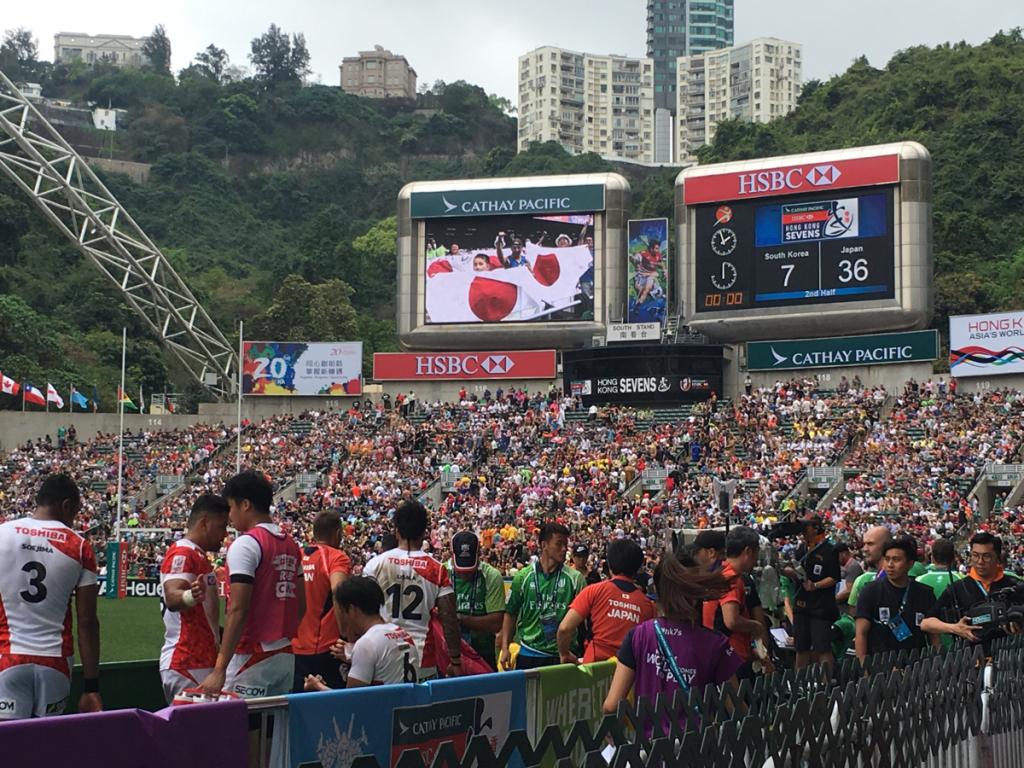 まずは日本の応援です 〜 香港セブンス試合観戦(2)