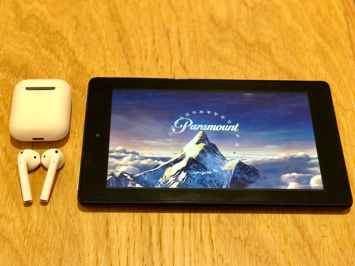 AirPodsをKindle Fire 7と接続してAmazonプライムビデオを観た