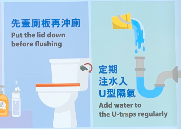 香港の衛生局のポスターはSARSの時のアモイガーデンの集団感染の教訓が活かされている